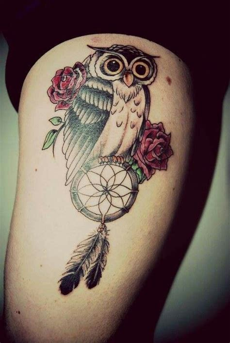 dreamcatcher with roses tattoo owl roses catcher tattoos