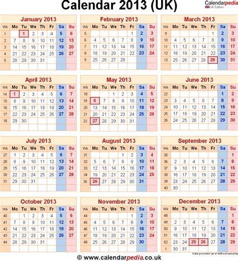 2013 Calendar With Holidays Calendar 2013 Uk With Bank Holidays Excel Pdf Word Templates