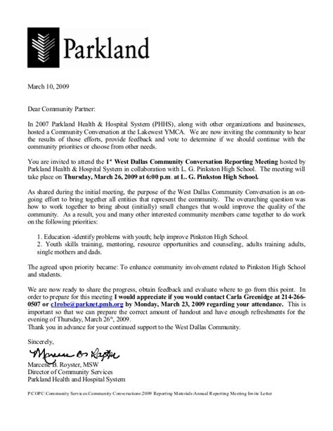 Invitation Letter Partners Meeting Parkland Annual Reporting Mtg At Pinkston Hs Clickers Implementation