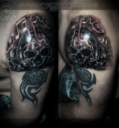 Extreme Tattoo Cover Up Ideas | dj skull tattoo music notes tattoo cover up tattoo in