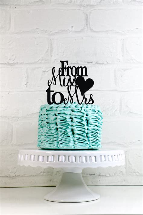From Miss To Mrs Wood Cake Topper miss to mrs wedding cake topper or sign with a