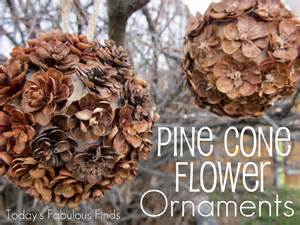 today s fabulous finds handmade pine cone flower ornaments