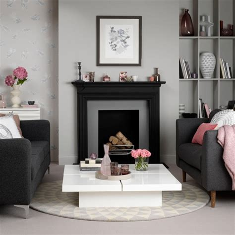 grey and pink living room how to decorate with grey