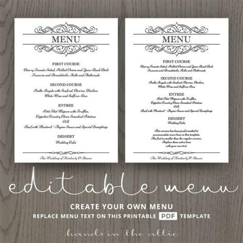 menu design editable elegant wedding menu template editable wedding menu card