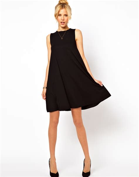 Swing Dresses asos sleeveless swing dress in black lyst