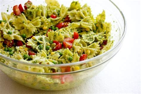 pesto salad pasta salad with peas and pesto recipe dishmaps