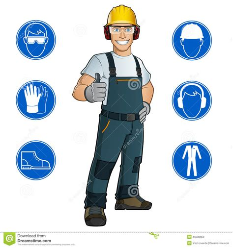 safety man clip art man dressed in work clothes stock vector image 46236853