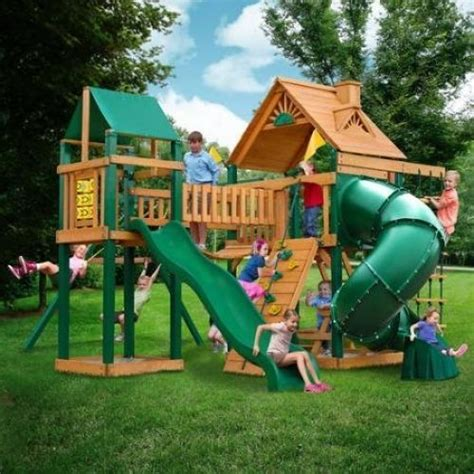 kids swing slide set outdoor wooden swing set back yard playground playset