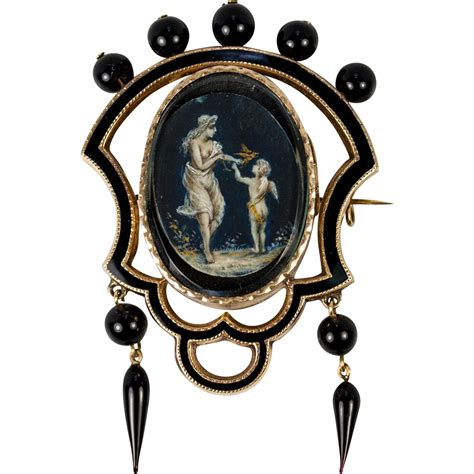 One Treasure Pin antique mourning brooch 14k 15k gold enamel and jet and antiques uncommon