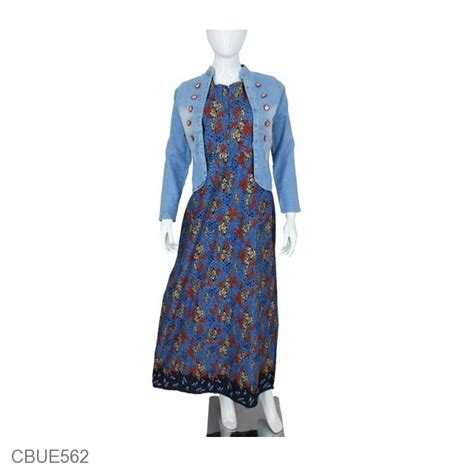 Gamis Set Batik by Set Gamis Batik Jacket Ruffle Gamis Batik Murah