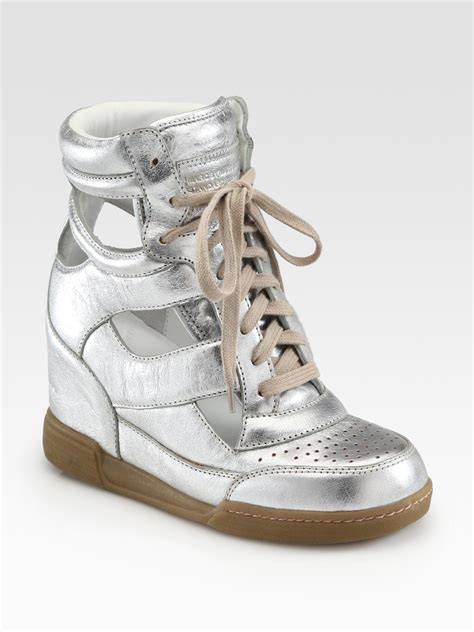 marc jacob sneakers marc by marc cutout metallic leather wedge sneakers