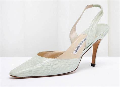 manolo high heels manolo blahnik seafoam green lizard slingback high heel
