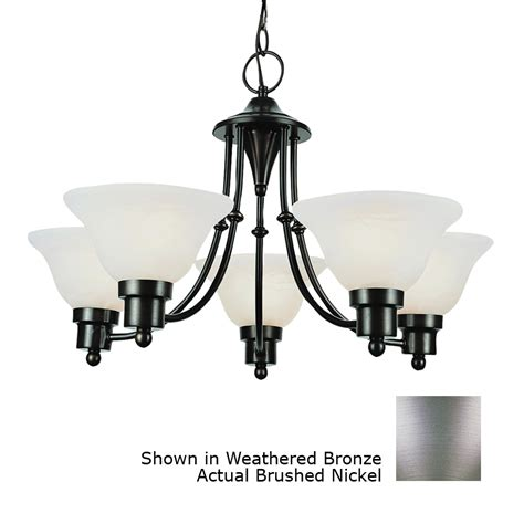 Contemporary Brushed Nickel Chandelier Shop Bel Air Lighting Contemporary 5 Light Brushed Nickel Chandelier At Lowes