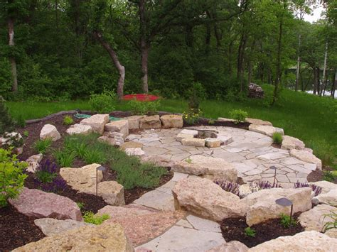 Limestone Or Sandstone Patio by Limestone Outcropping And Flagstone Patio And Firepit Flickr