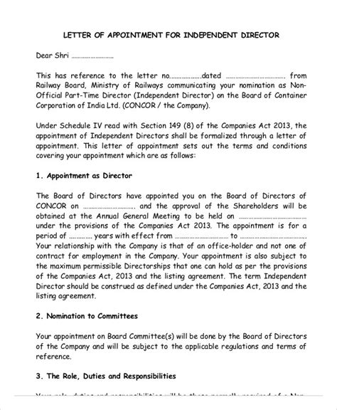 appointment letter format for board of directors sle board of directors nomination letter docoments