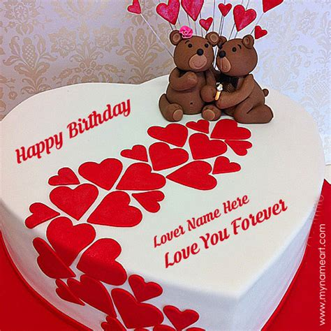 Greeting Card For Birthday To Lover Write Name On Heart Birthday Cake For Lover Wishes