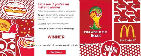Mcdonalds Instant Win Rules - coca cola mcdonald s soccer instant win game 5 12 daily saralee s deals steals