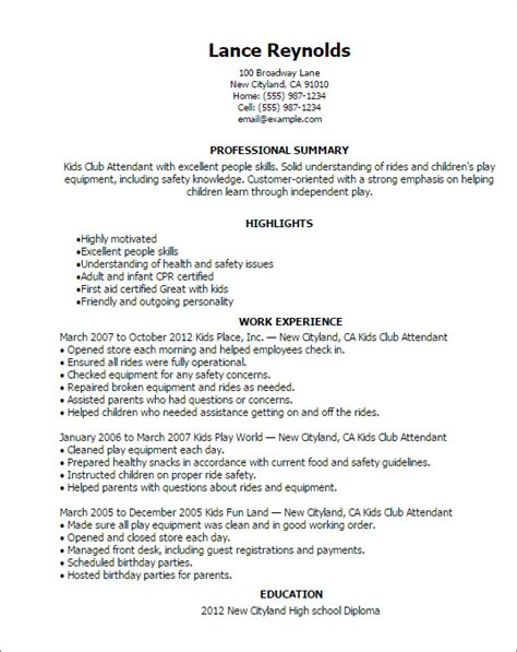 club attendant resume template best design tips