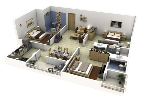 3 bed room free 3 bedrooms house design and lay out