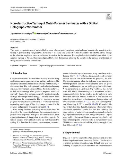 (PDF) Non-destructive Testing of Metal-Polymer Laminates