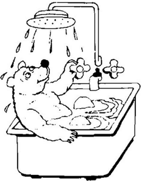 badewanne comic baer in der badewanne ausmalbild malvorlage in der
