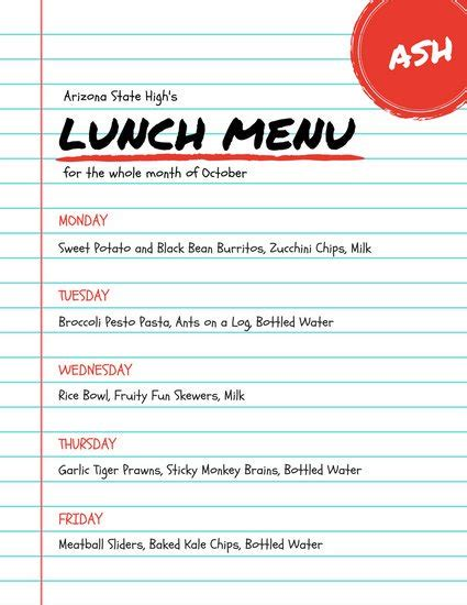 School Lunch Card Template by Customize 215 Lunch Menu Templates Canva