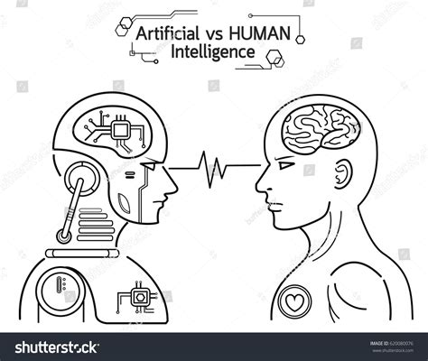 eps format vs ai humans vs robots ai artificial intelligence stock vector