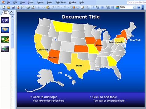 interactive map of usa for powerpoint united states map ppt