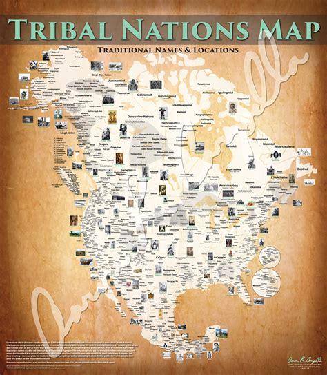 canadian map of indian tribes tribal nations common names borders 48 quot x55 quot