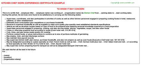 Experience Letter As A Cook Kitchen Chef Work Experience Certificate