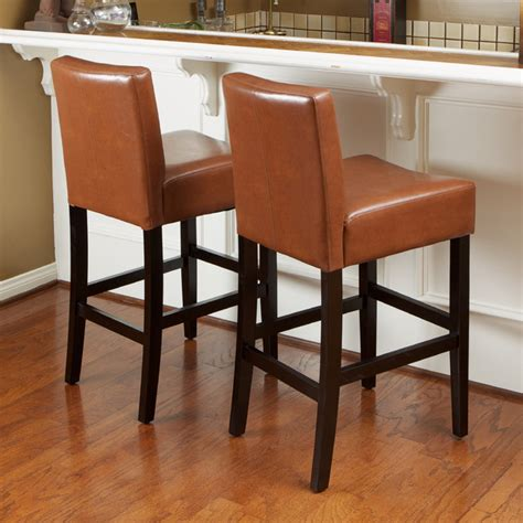 Christopher Counter Height Bar Stools by Christopher Home Hazelnut Leather