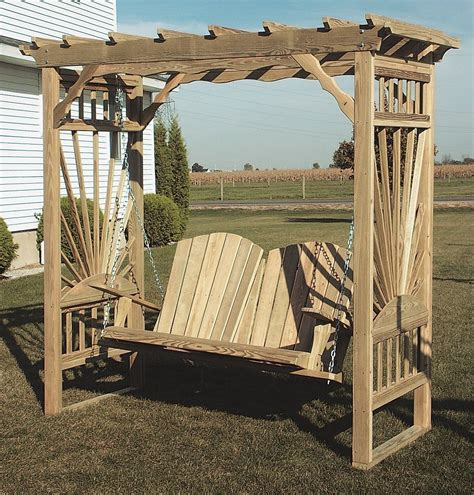 yard swing amish outdoor wooden garden arbor swing cedar pine wood