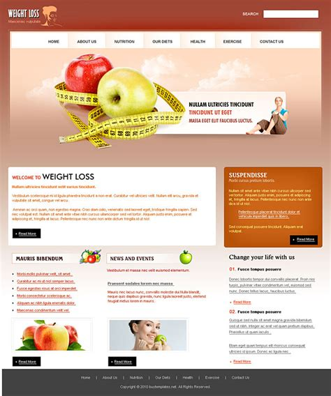 html homepage templates best html web templates for weight loss centers