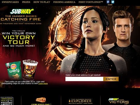 Wildfire Sweepstakes - subway the hunger games catching fire sweepstakes