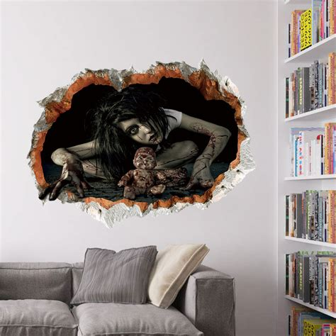 Wall Sticker Removable 3d Horror Ghost Series 4 decoration 3d ghost wall decals removable scary