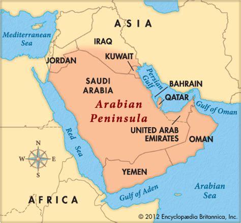 arabian peninsula map location arabian peninsula encyclopedia children s