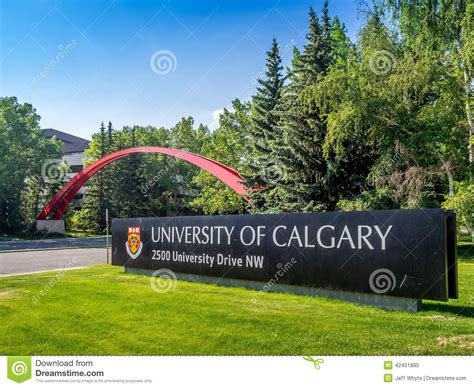 Mba Colleges In Calgary Canada by Of Calgary Entrance Sign Editorial Image