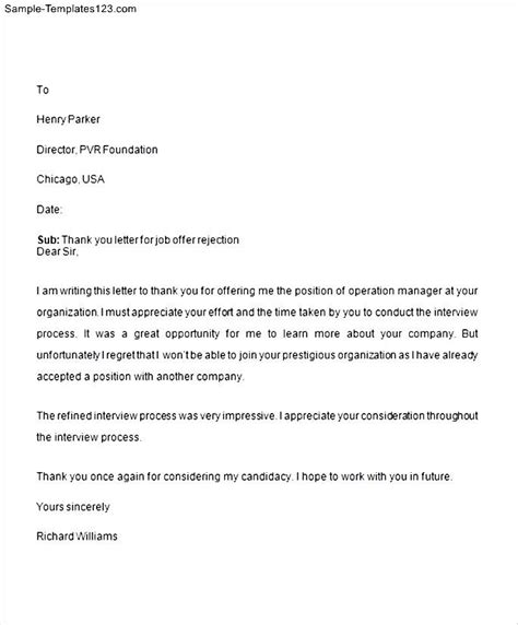 rejection thank you letter sle templates sle templates