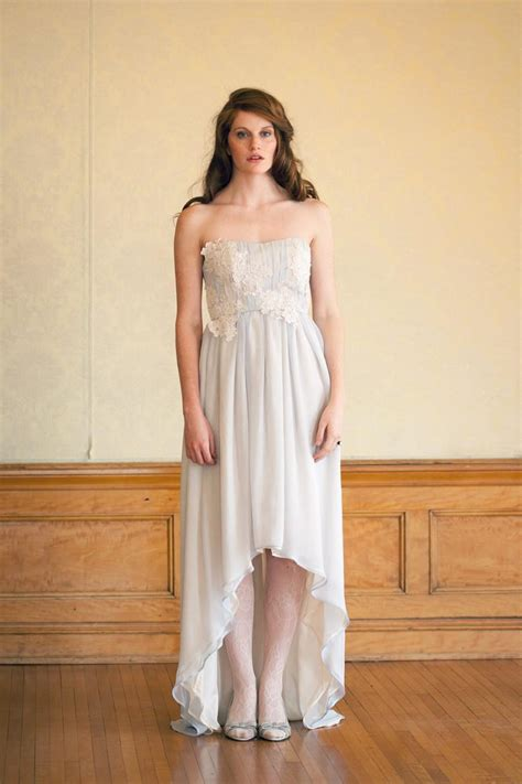 nontraditional bridesmaid chagne and blue blue bohemian strapless wedding dress with lace and high