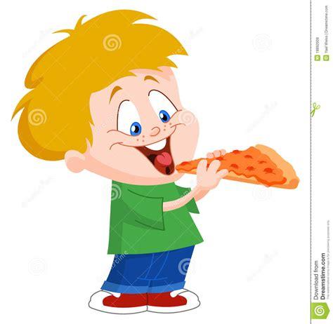 clipart bambino bambino che mangia pizza illustrazione vettoriale