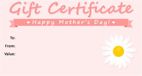 Free Printable Gift Certificates For Mother S Day | free gift certificate templates the grid system