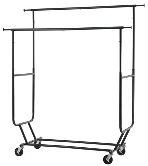rolling garment rack commercial grade collapsible clothing rolling double