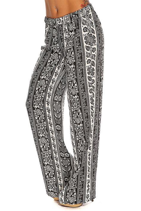 cute pattern pants black printed pattern stylish cute casual summer palazzo pants