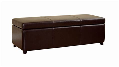long ottoman storage 47 quot long dark brown leather storage ottoman bench chest