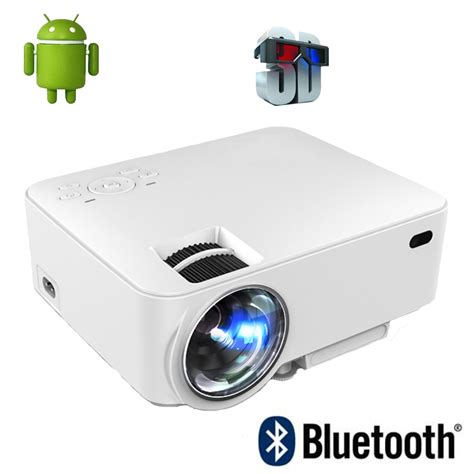 Wifi Lcd Projector 2016 new portable digital mini android 4 4 wifi bluetooth smart led lcd projector hd 1080p home
