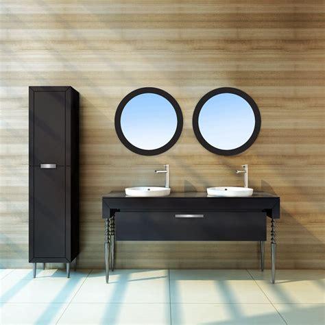Meuble salle de bain baroque noir laqué miroir rond