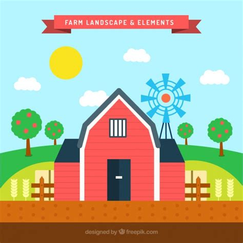 farm layout design software free download farm landscape and elements in flat design vector