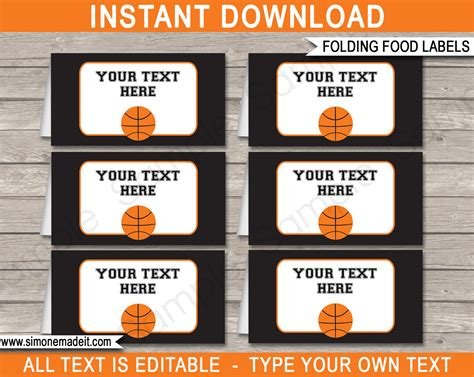 food place cards template basketball food labels place cards decorations