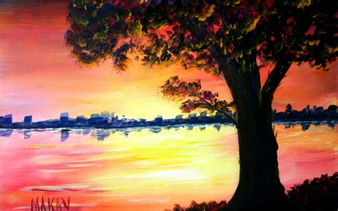 Landscape Pictures To Paint In Acrylic Acrylic Landscape Painting Course Age 7 To 17 I Paint Today