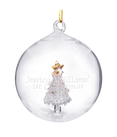personalised tree decoration tree glass bauble just